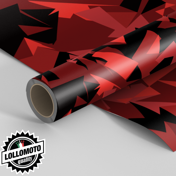 Pellicola ABSTRACT RED MILITARY CAMOUFLAGE Pellicola Car Wrapping Adesiva Rivestimento Auto