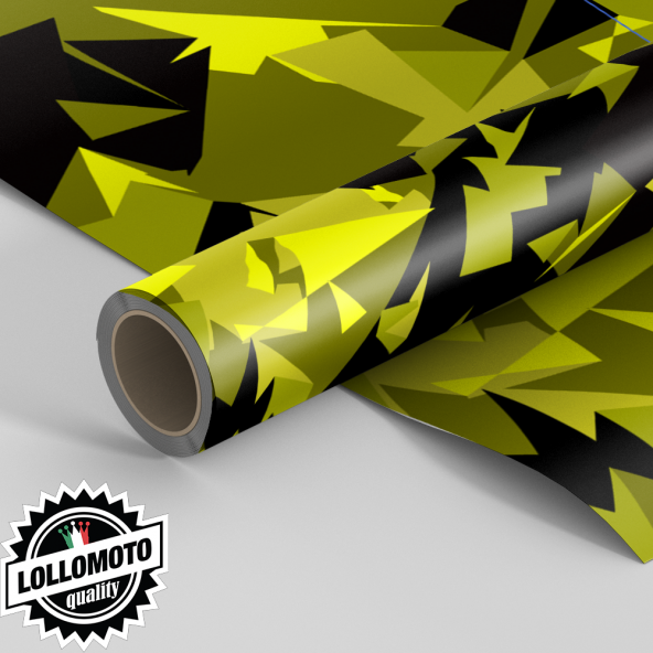Pellicola ABSTRACT YELLOW MILITARY CAMOUFLAGE Pellicola Car Wrapping Adesiva Rivestimento Auto