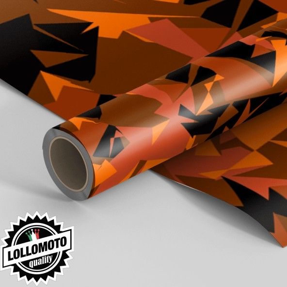 Pellicola ABSTRACT ORANGE MILITARY CAMOUFLAGE Pellicola Car Wrapping Adesiva Rivestimento Auto