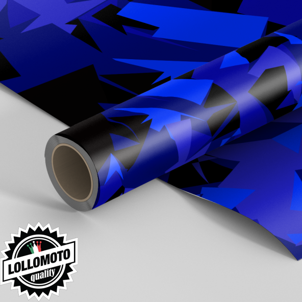 Pellicola ABSTRACT BLU MILITARY CAMOUFLAGE Pellicola Car Wrapping Adesiva Rivestimento Auto