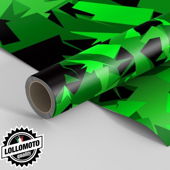 Pellicola ABSTRACT GREEN MILITARY CAMOUFLAGE Pellicola Car Wrapping Adesiva Rivestimento Auto