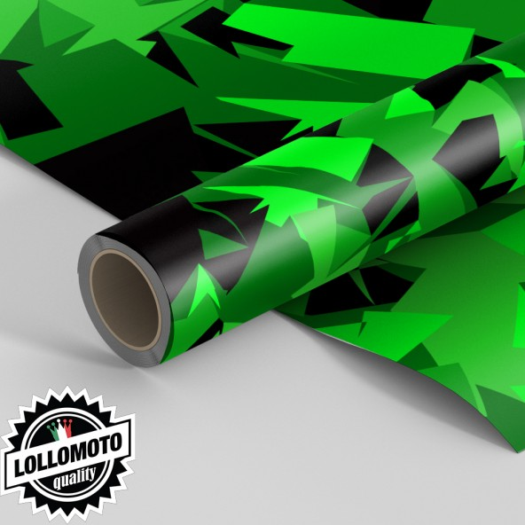 Pellicola ABSTRACT GREEN MILITARY CAMOUFLAGE Pellicola Car Wrapping Adesiva Rivestimento Auto
