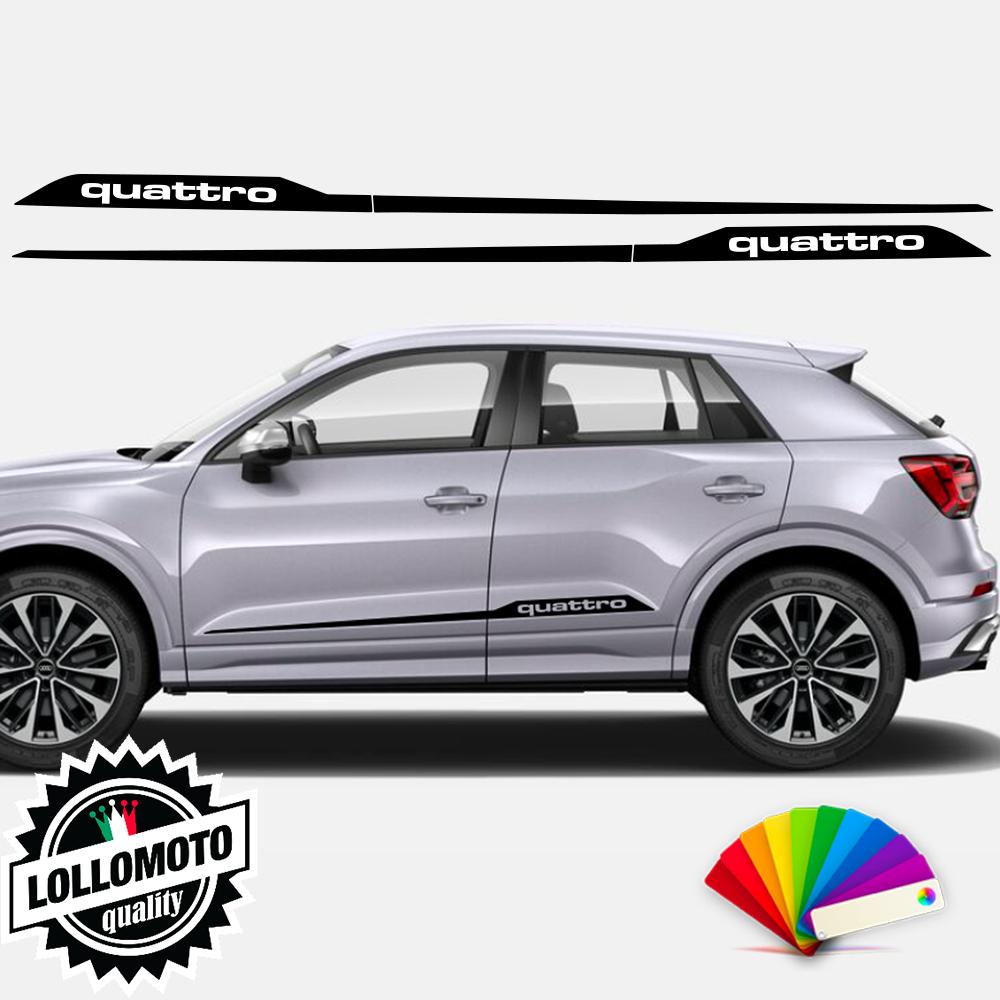 2x Strisce Adesive Fiancate Laterali Audi Q2 Quattro Adesivi Vari Colori Disponibili Stickers Accessori Auto Pellicole LOLLOMOTO