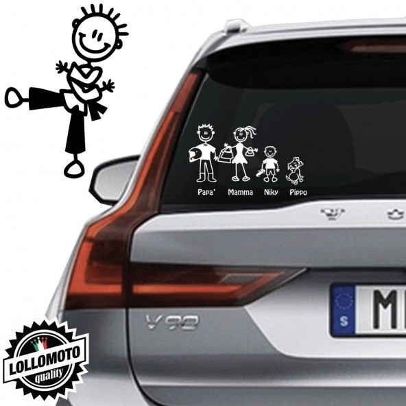 Bimbo Karate Vetro Auto Famiglia StickersFamily Stickers Family