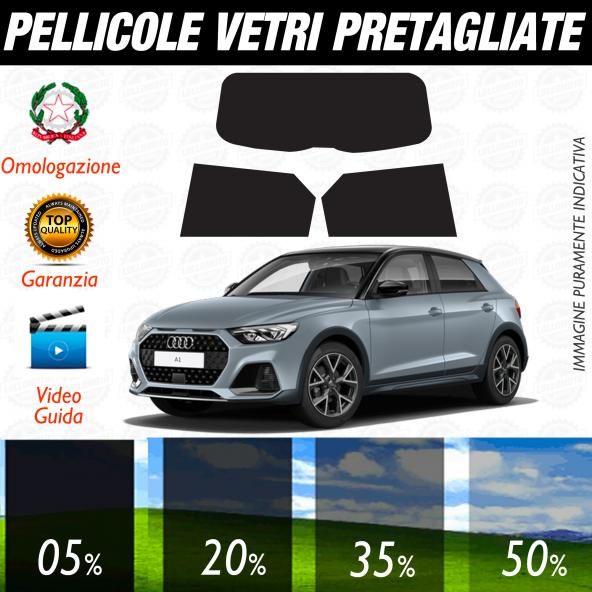 Audi A1 5P Sportback dal 2019 ad OGGI  Pellicole Oscuramento Vetri Auto Pre Tagliate a Misura
