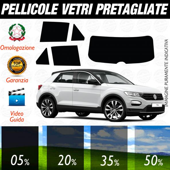 VolksWagen T-ROC TROC 5 Porte dal 2018 ad OGGI Pellicole Oscuramento Vetri Auto Pre Tagliate a Misura