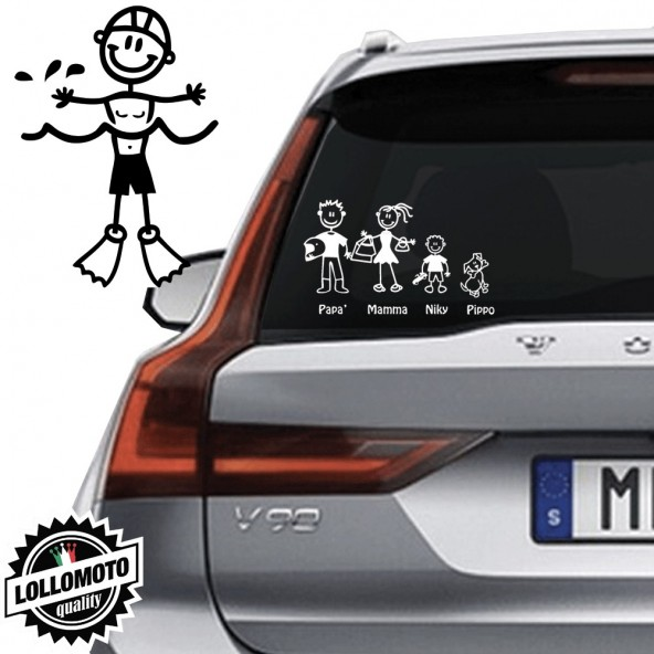 Bimbo Con Pinne Vetro Auto Famiglia StickersFamily Stickers Family Decal