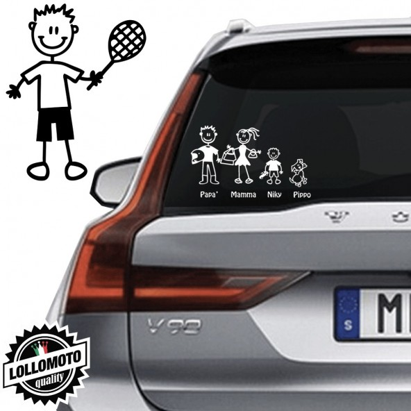 Bimbo Tennista Vetro Auto Famiglia StickersFamily Stickers Family Decal