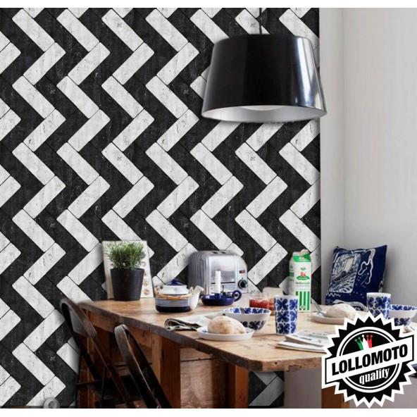 Carta da Parati Effetto Mattonelle Bianco e Nero Interior Design Arredamento Personalizzato Wall Paper