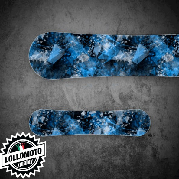 Adesivo Tavola Snowboard Abstract Blue Personalizzata Wrapping Stickers Decal