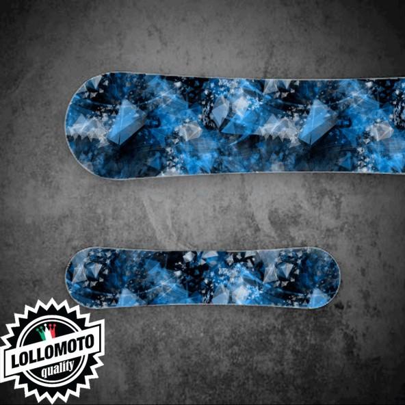 Adesivo Tavola Snowboard Abstract Blue Personalizzata Wrapping