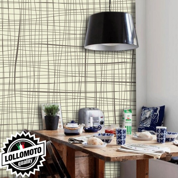 Carta da Parati Griglia Fine Fondo Beige Interior Design Arredamento Personalizzato Wall Paper