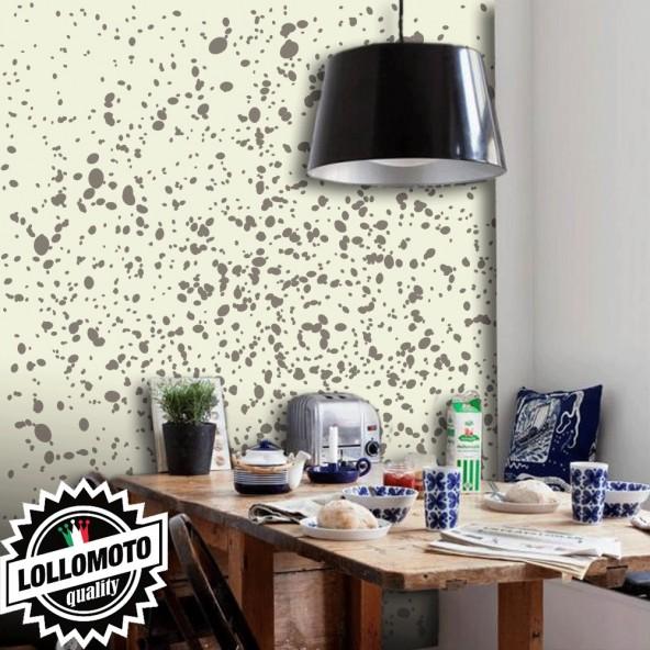 Carta da Parati Schizzi Marroni Fondo Beige Interior Design Arredamento Personalizzato Wall Paper
