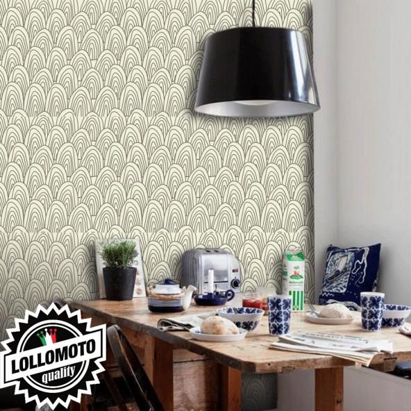 Carta da Parati Ondine Marroni Fondo Beige Interior Design Arredamento Personalizzato Wall Paper