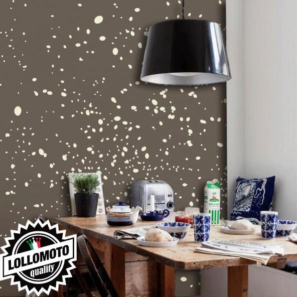 Carta da Parati Schizzi Beige Fondo Marrone Interior Design Arredamento Personalizzato Wall Paper