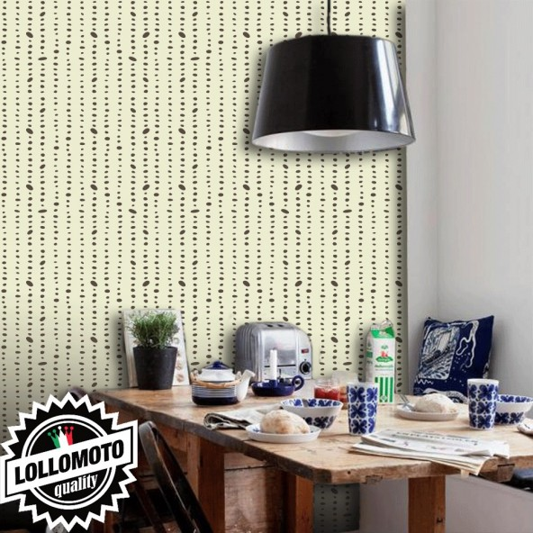 Carta da Parati Catenelle Marroni su Fondo Beige Interior Design Arredamento Personalizzato Wall Paper