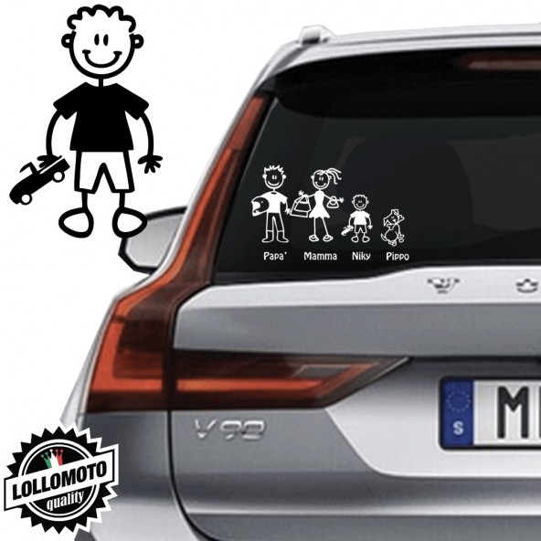 Bimbo Con Macchinina Vetro Auto Famiglia StickersFamily Stickers Family Decal