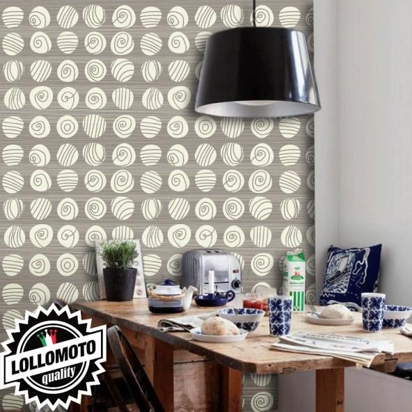 Carta da Parati Conchiglie Marroni su Fondo Beige Interior Design Arredamento Personalizzato Wall Paper
