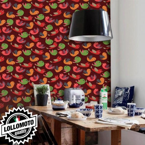 Carta da Parati Uccellini su Fondo Bordeaux Interior Design Arredamento Personalizzato Wall Paper