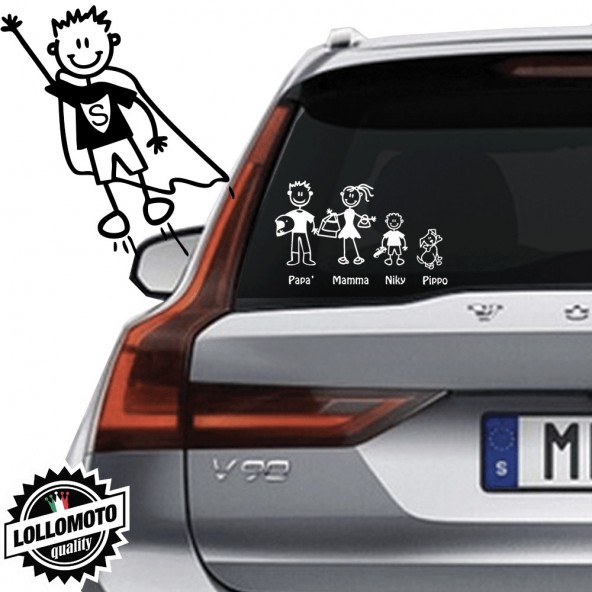 Bimbo Superman Vetro Auto Famiglia StickersFamily Stickers Family Decal