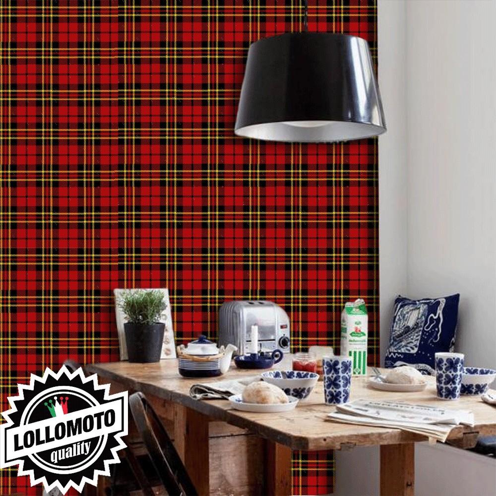 Carta da parati tartan rosso interior design arredamento for Arredamento personalizzato
