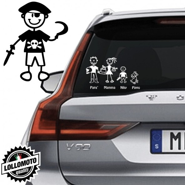Bimbo Pirata Vetro Auto Famiglia StickersFamily Stickers Family Decal
