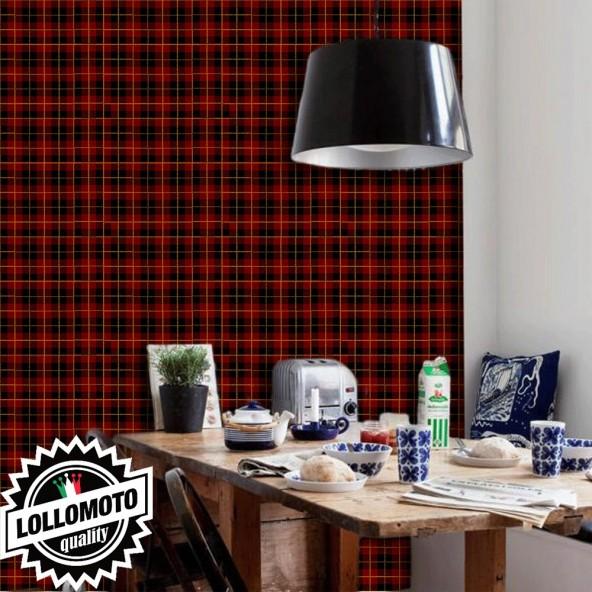 Carta da Parati Tartan Rosso Scuro Interior Design Arredamento Personalizzato Wall Paper