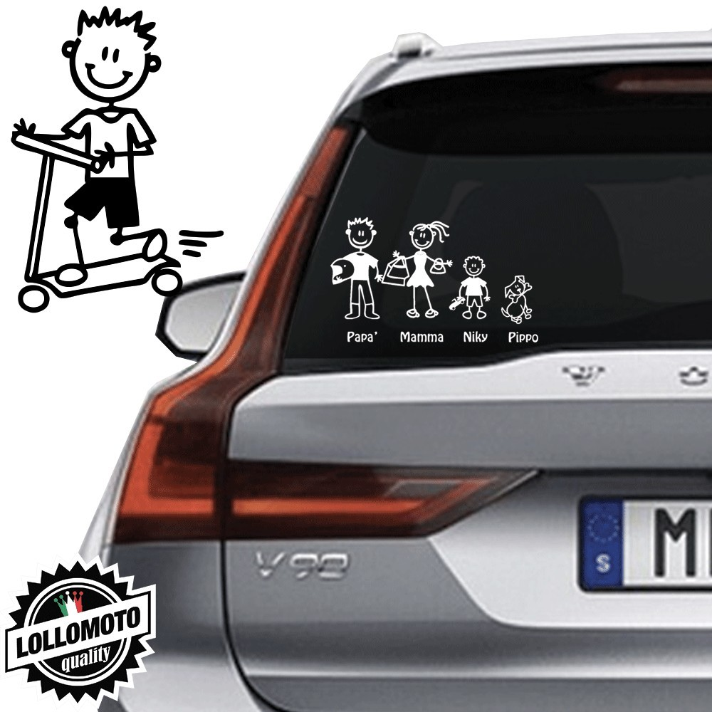 Bimbo Con Monopattino Vetro Auto Famiglia StickersFamily