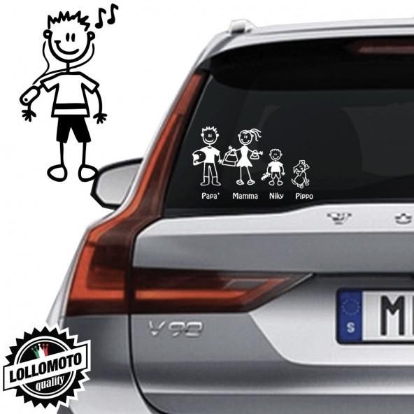 Ragazzo Che Ascolta Musica Vetro Auto Famiglia StickersFamily