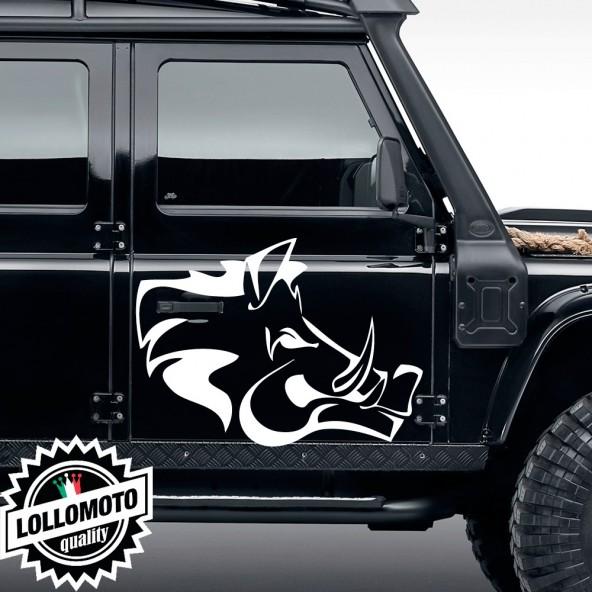 2x Adesivi Fiancata Logo Cinghiale Jeep Suzuki Fuoristrada