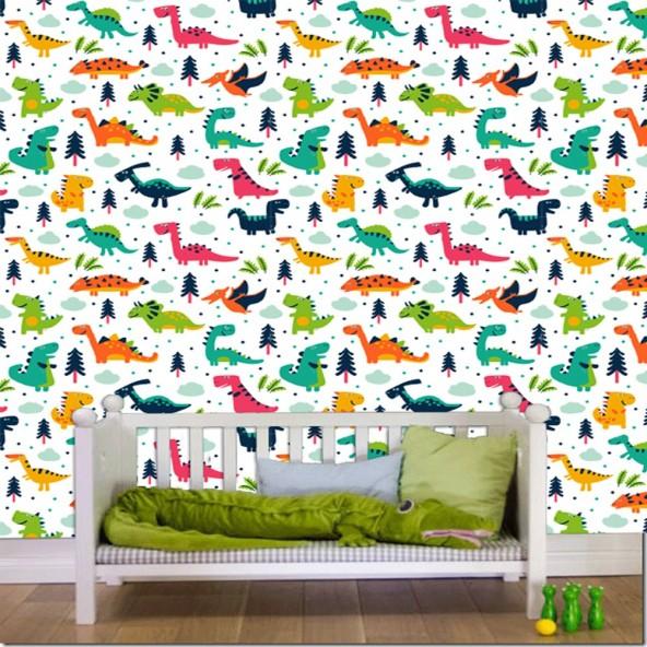 Carta da Parati Camera Bambini Dinosauri Interior Design Arredamento Personalizzato Wall Paper