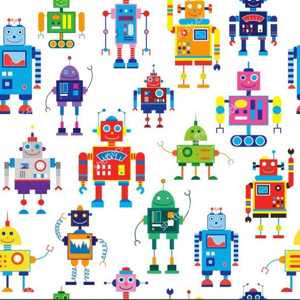 Carta da Parati Camera Bambini Robot Interior Design