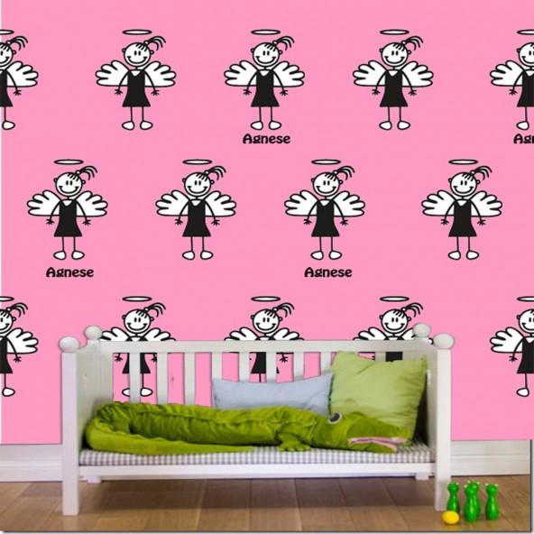 Carta da Parati Camera Bambini Familystickers Personalizzabile Dinosauri Interior Design Arredamento Personalizzato Wall Paper