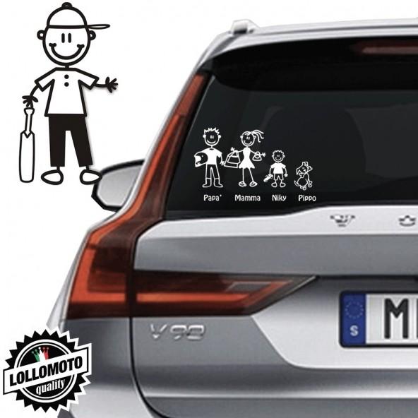 Ragazzo Cricket Vetro Auto Famiglia StickersFamily Stickers