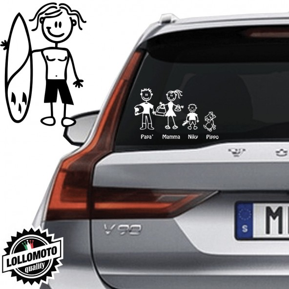 Ragazzo Con Surf Vetro Auto Famiglia StickersFamily Stickers Family Decal
