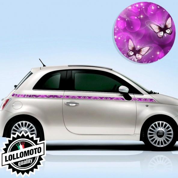 Kit Fasce Adesive Fiat 500 Laterali Farfalle Viola Fashion Strisce Bonnet Decal Tuning