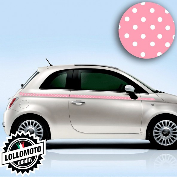 Kit Fasce Adesive Fiat 500 Laterali Pois Rosa Fashion Strisce Bonnet Decal Tuning