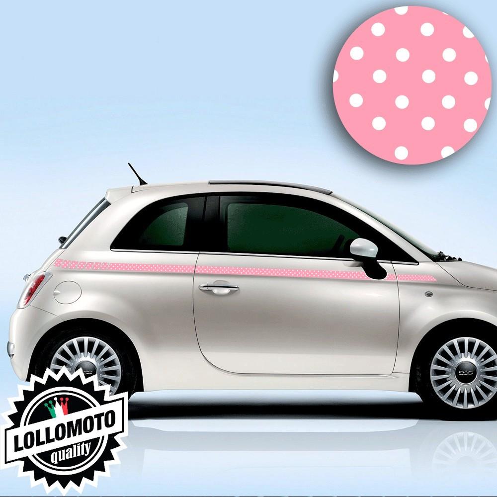 Kit Fasce Adesive Fiat 500 Laterali Pois Rosa Fashion Strisce