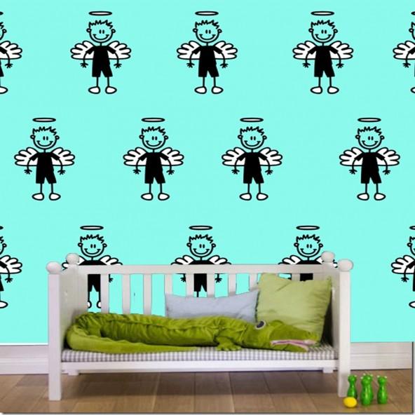 Carta da Parati Camera Bambini Angelo Custode Interior Design Arredamento Personalizzato Wall Paper