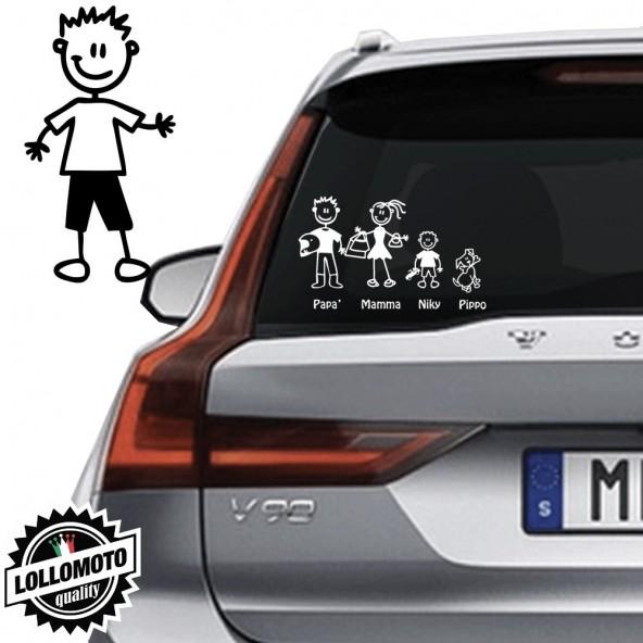 Ragazzo Con Pantaloncini e Tshirt Vetro Auto Famiglia StickersFamily Stickers Family Decal