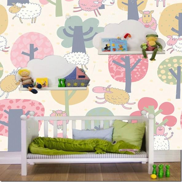 Carta da Parati Camera Bambini Pecore Interior Design Arredamento Personalizzato Wall Paper