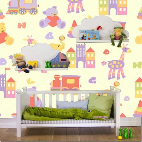 Carta da Parati Camera Bambini Trenino Interior Design Arredamento Personalizzato Wall Paper