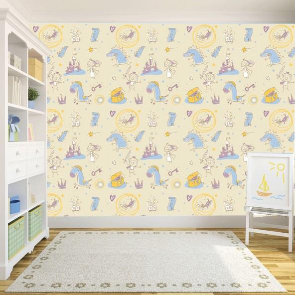 Carta da Parati Camera Bambini Draghi e Castelli Interior Design Arredamento Personalizzato Wall Paper