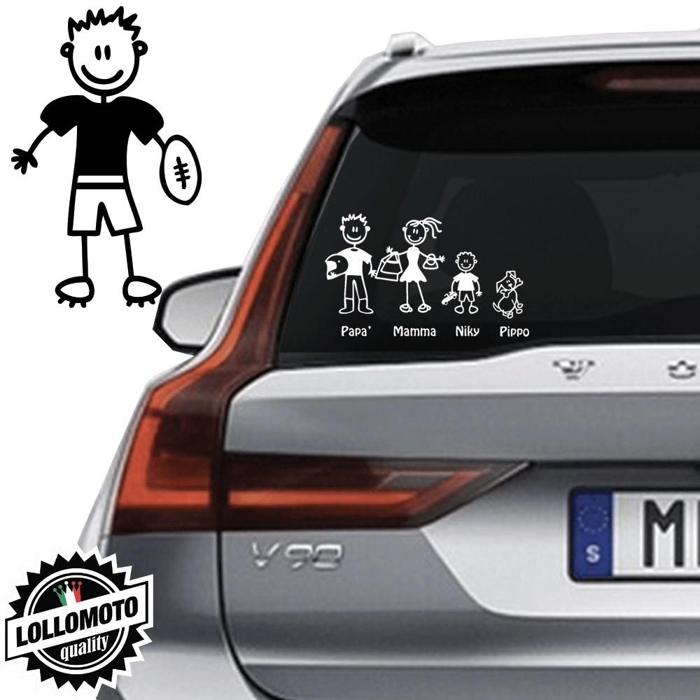 Ragazzo Con Pallone Rugby Vetro Auto Famiglia StickersFamily