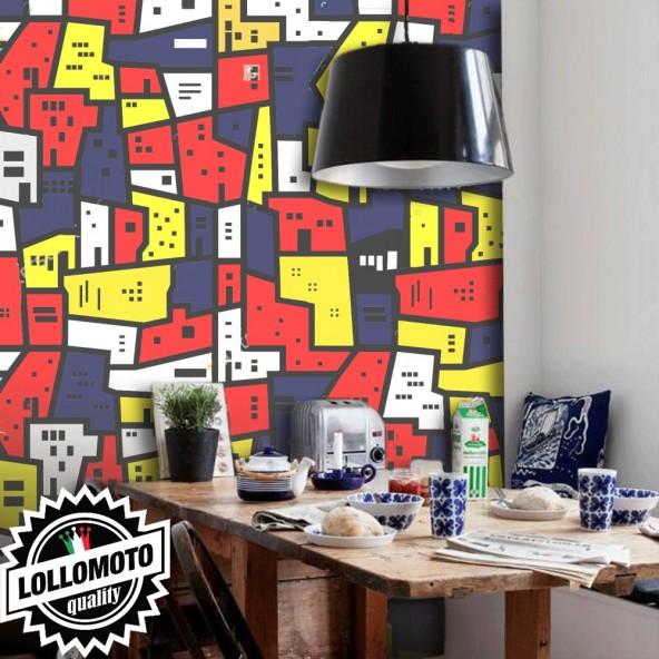 Carta da Parati Case Multicolori Interior Design Arredamento Personalizzato Wall Paper