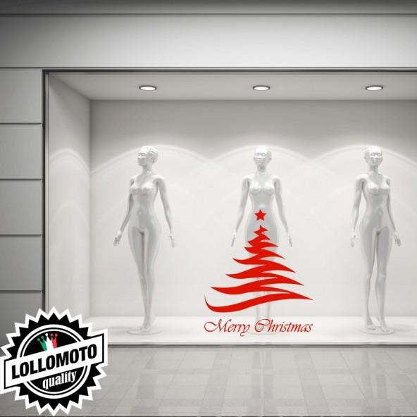 Adesivo Albero Natale Vector Allestimento Vetrine Stickers Design Decal Intagliati