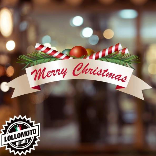 1x Adesivo Merry Christmas Allestimento Vetrine Buone Feste Natale Adesivi Stickers Decal