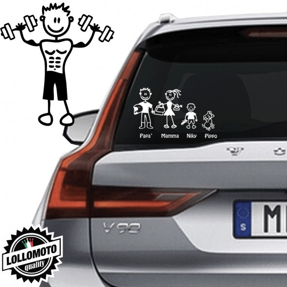 Ragazzo Con Pesi Vetro Auto Famiglia StickersFamily Stickers