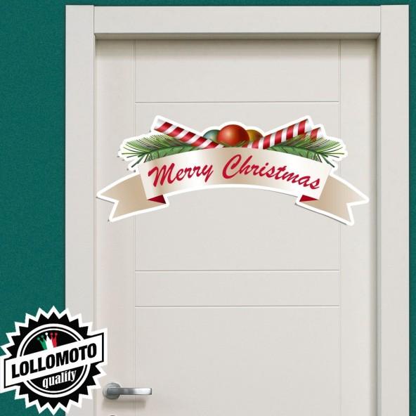 1x Adesivo Merry Christmas Allestimento Vetrine Buone Feste
