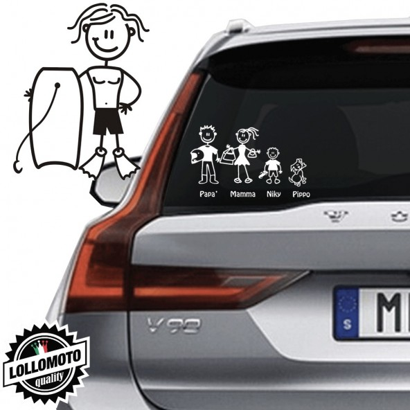 Ragazzo Con Tavola Galleggiante Vetro Auto Famiglia StickersFamily Stickers Family Decal